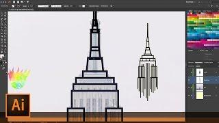 Create Empire State Building Line Art with Illustrator and the Shaper & Join Tools | Illustrator
