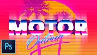 Create Outrun Retro-Futuristic Pixel Text Effect Photoshop Tutorial  | Educational