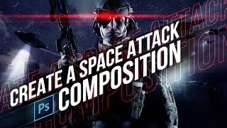 Convert Day to Night (Space Attack Composite Scene) - Photoshop CC Tutorial | Educational