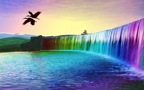 3D Colorful Waterfall