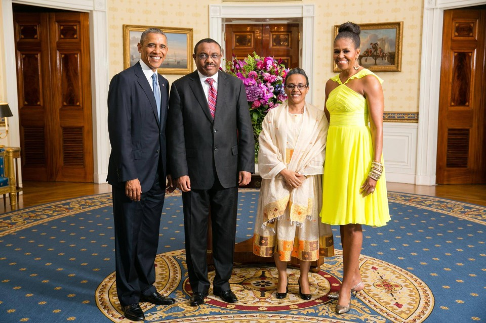 PM Hailemariam Desalegn and First Lady Roman Tesfaye of Ethiopia with US President Barack Obama and First Lady Michelle Obama during a U.S.-Africa Leaders Summit dinner at the White House, Aug. 5, 2014